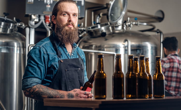 Man Working at Craft Brewery