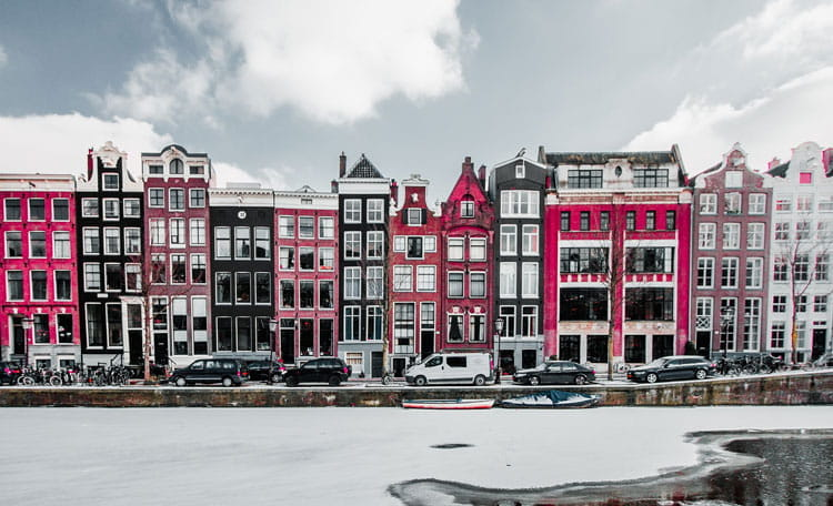 Amsterdam in snow, Netherlands