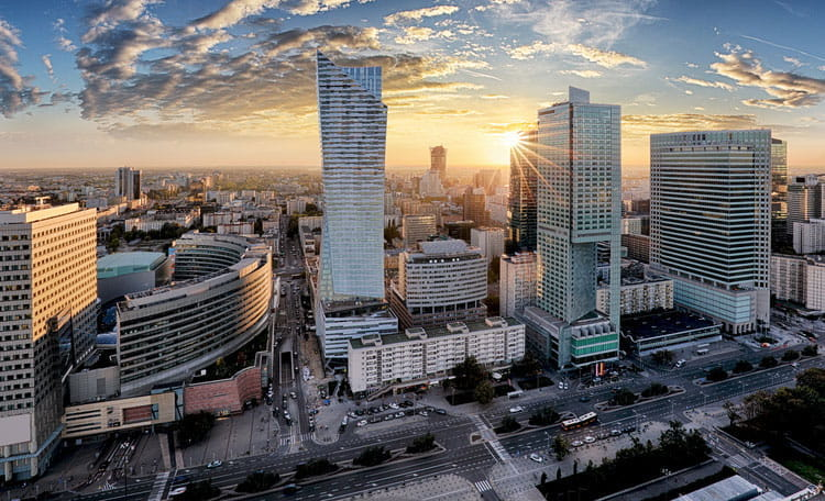 High rise offices, skyline view, Warsaw, Poland