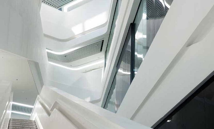 white modern stairwell in commercial building