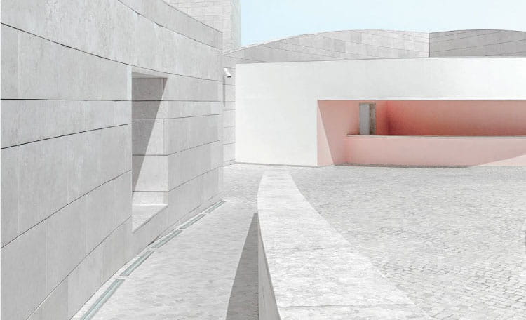 modern exterior architecture pale grey and pink, Portugal