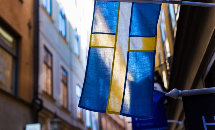 Swedish flag flying in Stockholm