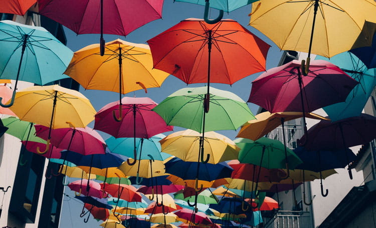 Street roofed with umbrellas, Agueda, Portugal