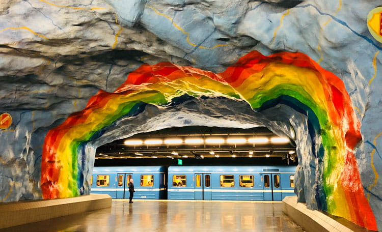 Stockholm tunnelbana station with rainbow walls, Sweden